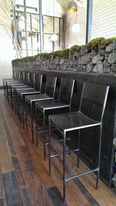 bar stools, steel wall work, light post and gabion wall build by in Nashville, TN Wood Steel, Steel Wall, Wood And Metal, Metal Art, Steel Furniture, Industrial Furniture, Bar Counter Design, Gabion Wall, Design Industrial