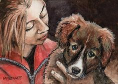 ACEO TW MAY Original Painting Girl With Puppy dogs pets animals children cuddle #Impressionism