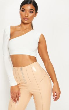f5f9e22c94 White One Shoulder Slinky Crop Top
