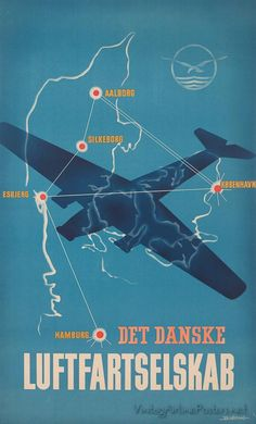 Vintage Danish air travel poster