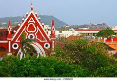 The Red House and Castillo de San Felipe de Barajas, Cartagena, Colombia - Stock Image