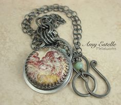 Mexican Crazy Lace Agate and Sterling Silver Necklace -- by AmyEstelleMetalworks