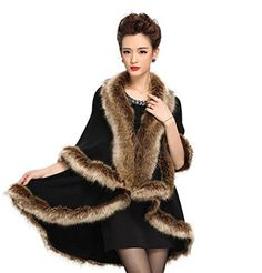 D-Sun Women Faux Fur Kimono Cardigan Shawl Pashmina Cape Coat Cloak (Black)