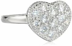 Sterling Silver Simulated Diamond Heart Ring