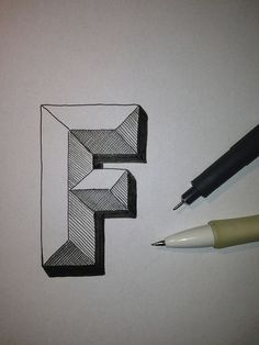 Drawings Art Ed Central loves Typography Sketch - Letter F - Nothing serious, just testing shadows. Graffiti Art, Graffiti Lettering, Hand Lettering, Hand Drawn Fonts, Block Lettering, 3d Drawings, Drawing Sketches, 3d Sketch, Drawing Ideas