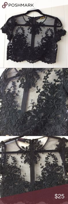 NWOT Sexy Lace Crop Top NWOT Lace crop top. Brand is ABYSS. Material is see through. Underarm-to-underarm is 32 inches. Does not have much stretch so consider this if planning on purchasing. This is a very pretty top. Absolutely perfect for music festivals. Tops Crop Tops
