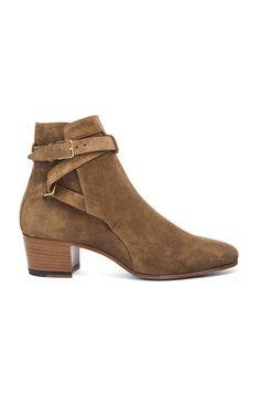 Saint Laurent Wyatt Suede Buckle Boots in Cigare | FWRD