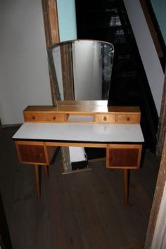 Vintage retro kaptafel make up tafel spiegel tafel - Tafel tv vintage ...
