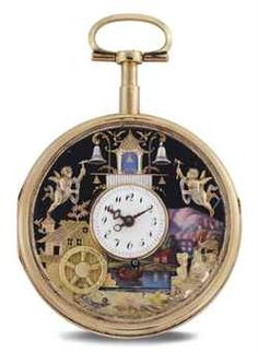 Vintage 1850 SWISS 18K Pink Gold and Enamel Quarter Repeating Openface Key Wound Automaton Pocket Watch