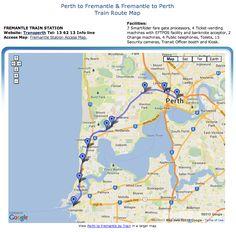 Perth to Fremantle Train (Rail) Map. Train Route Map, Train Station, Security Camera, Western Australia, Perth, Trains, Maps, Public