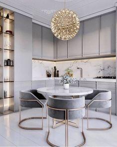 47 Best Dining Room Lighting Ideas – home acssesories Luxury Kitchen Design, Kitchen Room Design, Dining Room Design, Home Decor Kitchen, Home Interior Design, Gold Kitchen, Kitchen Grey, Kitchen Ideas Square Room, Diy Kitchen