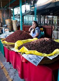 Chapulines, yum!   Spiced grasshoppers at a market at Oaxaca, Mexico,  NYTimes.com