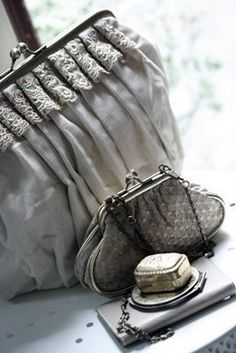 Grey collection...Tiny purse :: Like Phil's Gran's from the Centennial World's Fair Celebration ... (1900!)