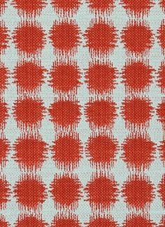 "Sabine 329 Salsa - Jennifer Adams Home Fabric - Jacquard ikat dot fabric. Beautiful fabric for window treatments, furniture upholstery or top of the bed. Content; 58% cotton / 42% poly. Repeat; V 3.75"" x H 3.5"". 54"" wide. Durable 35,000 double rubs. Please note; 10 Yard minimum."
