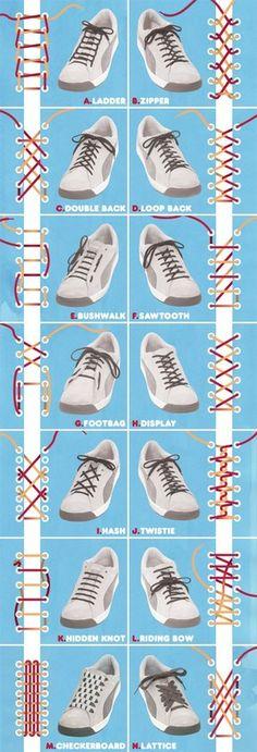 Different methods patterns for lacing shoes - Shoe lace pattern template diagram 堆糖-美好生活研究所