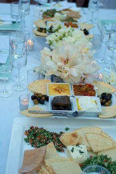 family style dinner setup for wedding reception