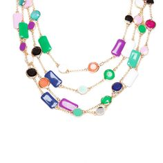 You'll want to take a moment to appreciate the charming beauty of this triple layer drape Ashley necklace. The necklace features an array of colored enameled angular stations.  Find it on Splendor Designs