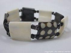 Maasai Market African Handmade Jewelry Batik Spots Bone Stretch Bracelet 386-38 #Handmade