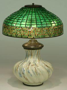 TIFFANY GREEK KEY FAVRILE GLASS AND LEADED LAMP