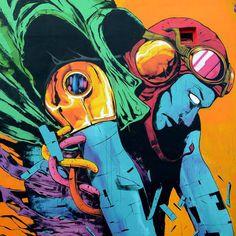 Une sélection des créations street art de l'artiste et illustrateur espagnol DEIH, basé à Valence, qui mélangefantastique et science fiction dans des com