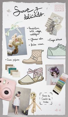Panel de Tendencias Gioseppo Kids PV16 - Suave y delicado Trends Board SS16 - Smoothy and Delicate  #SS16 #Trends #KidsFashion #Shoes #PastelColors #RoseQuartz #BabyBlue