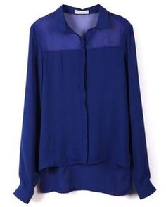 SheInside Blue Long Sleeve Asymmetrical Chiffon Blouse