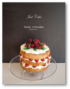 sponge cake with berries and strawberries