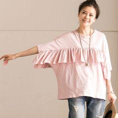 Splicing Flounced Women Loose Casual Cotton Summer Pink Shirt