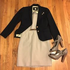 J. Crew 0p dove grey dress Grey with a hint of purple. Cotton with stretch. Have worn this with a skinny belt, blazer and heels! J. Crew retail. Fully lined with essential pockets. Just a touch above knee-length on me. Always drycleaned. Size 0p. (No trades please.) Like the shoes? @mrslong777 has them listed size 8! J. Crew Dresses