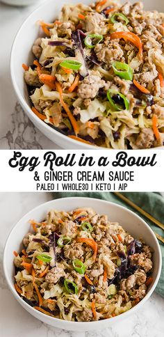 Easy Egg Roll In a Bowl Keto, Paleo) – Unbound Wellness This Egg Roll in a Bowl recipe brings back all of the flavor and nostalgia you love about egg rolls without the wrapper! It's paleo, AIP, and keto. Paleo Recipes, Asian Recipes, Real Food Recipes, Chicken Recipes, Cooking Recipes, Ethnic Recipes, Hamburger Recipes, Cabbage Recipes, Recipes With Ginger