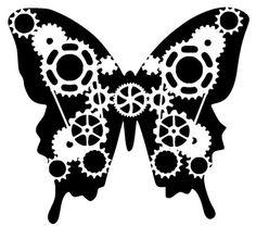 steampunk cogs butterfly stencil 1   Die cutting   Pinterest   1 ...