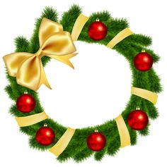 Christmas Wreath with Yellow Bow Transparent PNG Clip Art Image