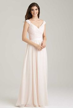 Brides: Allure Bridesmaids. The ruched lace bodice on this A-line dress is ultra-flattering.