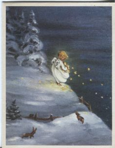 Unused Vintage Alfred Mainzer Christmas Card - Angel with Rabbits and Stars