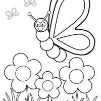 Desenho De Borboleta Entre Flores No Jardim Para Colorir