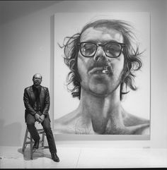 Chuck Close, the master of hyper realism and one of my favorites. Fact, he was a skier and used to forge lift tickets because he couldn't afford them.
