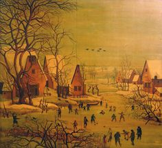 Brueghel the Elder, Unique Wood Oil Painting, Winter Landscape, In the manner of Pieter Bruegel the Elder. Wood panel dating to 18th century (thumbnail 1)