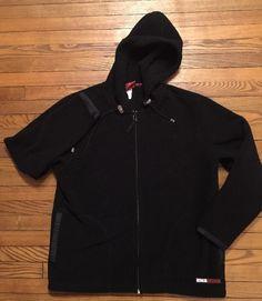 Mens OAKLEY Hooded Full-Zip Black Fleece Jacket Large