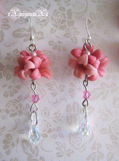fimo, perle et cristal. rose