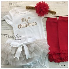 1st Christmas Outfit Set gold glitter shirt red leg warmers glitter headband bow ruffle bloomer tutu skirt diaper bloomers infant baby girl by HoneyLoveBoutique