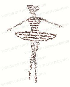 8x10 Ballerina  Word Art Print  Scripture by wordsoftruthdesigns