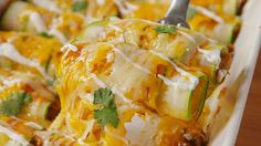 Zucchini Enchiladas - These have shredded chicken, but you could use beef or pork instead, if you prefer. These can be very low carb depending on the carb count of your enchilada sauce. Homemade is best.