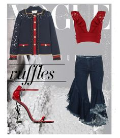 """""""ruffles all around"""" by ilseok on Polyvore featuring Boohoo, Yves Saint Laurent, Marques'Almeida, Gucci, ruffles and RuffLyfe"""