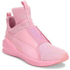 PUMA Fierce Bright Mesh Sneakers (€60) ❤ liked on Polyvore featuring shoes, sneakers, mesh sneakers, perforated slip on sneakers, round toe sneakers, slip-on shoes and mesh slip on shoes