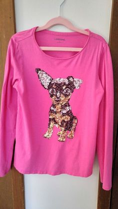 767cf8d8836 Lands End Girls Pullover Shirt with Sequin Dog Graphic size 14  fashion   clothing