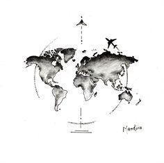 Globe world map with plane tattoo design by Mandira, Cute Tattoos, Small Tattoos, Tatoos, Tattoos Skull, Pretty Tattoos, Globus Tattoos, Tattoo Avant Bras, Karten Tattoos, Datum Tattoo