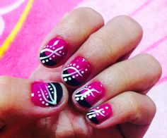 Pink and black special occasion nails