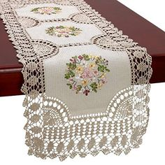 Handmade Crochet Cotton Lace Table Runner And Dresser Scarf, Ribbon Embroidery, Inches - Embroidery Design Guide Crochet Motifs, Crochet Quilt, Crochet Borders, Thread Crochet, Crochet Patterns, Lace Doilies, Crochet Doilies, Crochet Lace, Diy Crafts Knitting