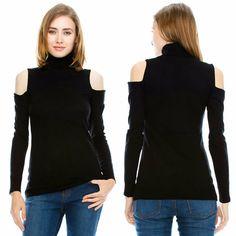 CASHMERE FEEL Black Turtleneck Cold Shoulder Cutout Long Sleeve Knit Sweater S-L #MonoB #Turtleneck