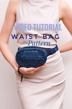 Belt bag crochet PDF pattern Boho waist bag pattern Crochet handbag Tshirt yarn Handbag tutorial Gifts for knitters Sister gift - This is the crochet belt bag pattern. The crocheting chunky yarn tutorial of this dark blue belt pu - Crochet Handbags, Crochet Purses, Crochet Belt, Knit Crochet, Crochet Hooks, Chunky Crochet, Tshirt Garn, Handbag Tutorial, Chunky Yarn